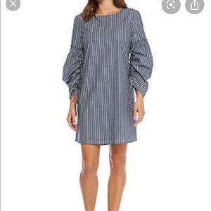 Charles henry striped ruched dress